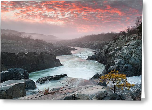 """great Falls"" Greeting Cards - Potomac River at Great Falls Sunrise Landscape Greeting Card by Mark VanDyke"