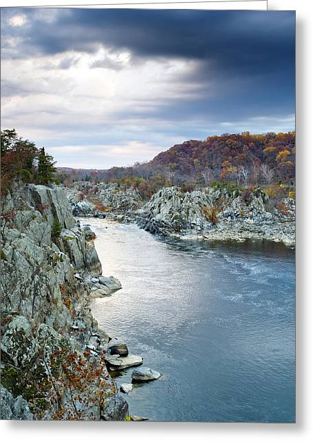 """great Falls"" Greeting Cards - Potomac River from Great Falls Park Virginia Greeting Card by Brendan Reals"