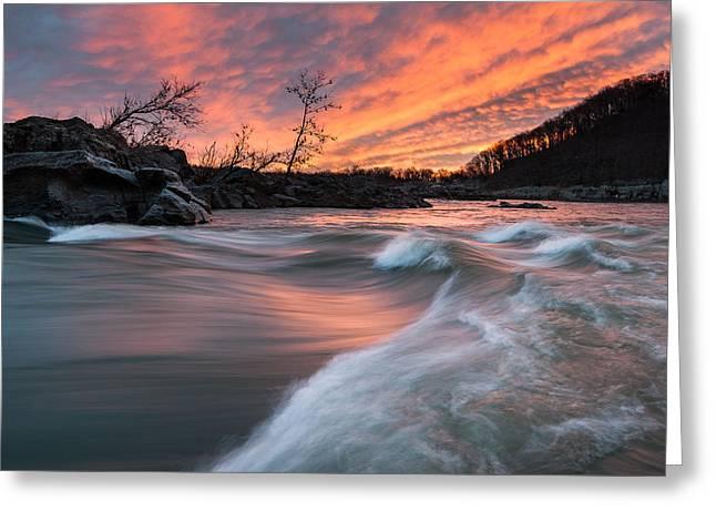 National Boundaries Greeting Cards - Potomac River Mather Gorge Sunrise Greeting Card by Mark VanDyke