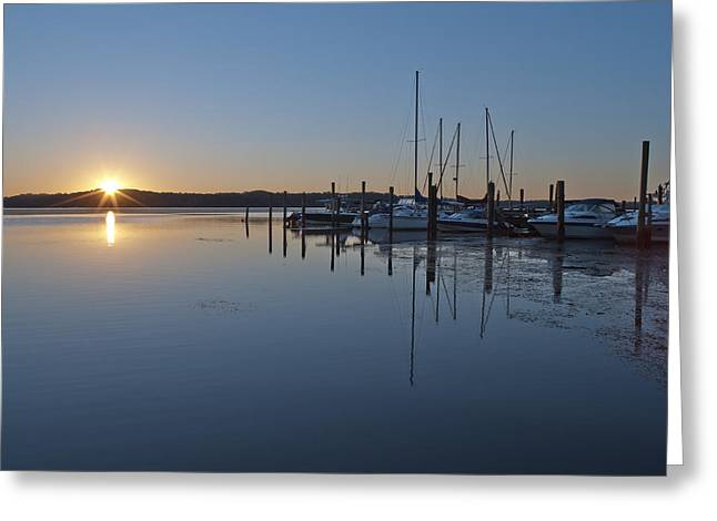 Sailboats Docked Greeting Cards - Potomac River Sunrise at Belle Haven Marina Virginia Greeting Card by Brendan Reals