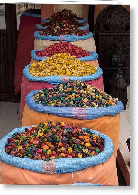 Marrakesh Greeting Cards - Potpourri For Sale In Souk, Marrakesh Greeting Card by Panoramic Images