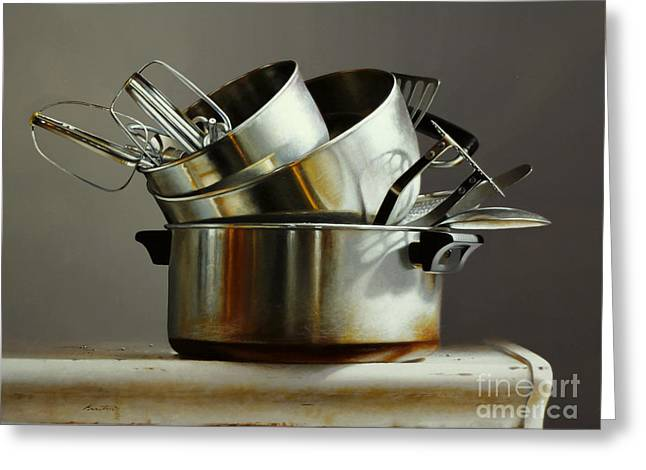 Pots And Pans Greeting Card by Larry Preston
