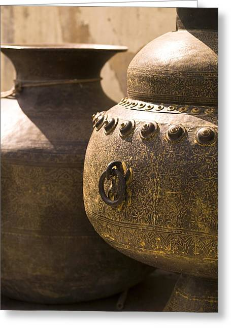 Pots, Jaipur, India Greeting Card by Keith Levit