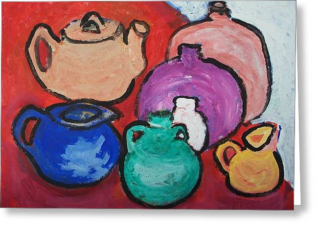 Stoneware Paintings Greeting Cards - Pots Greeting Card by Jay Manne-Crusoe