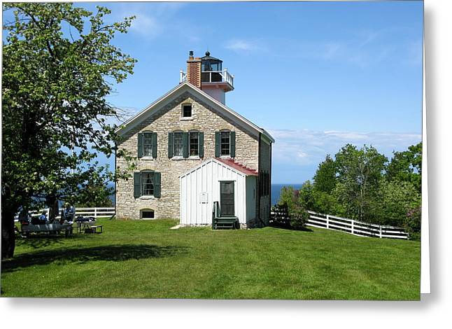 Historic Site Greeting Cards - Pottawatomie Lighthouse Greeting Card by Cindy Kellogg
