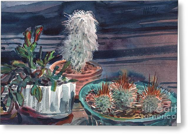 Ceramic Paintings Greeting Cards - Potted Cactus Greeting Card by Donald Maier