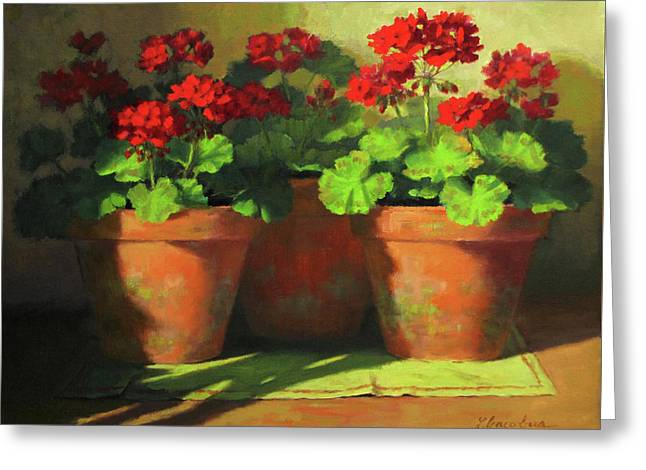 Red Geranium Greeting Cards - Potted Geraniums Greeting Card by Linda Jacobus