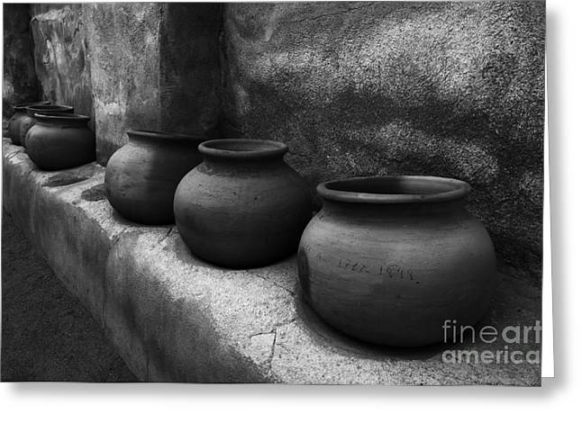 Tourist Location Greeting Cards - Pottery Tumacacori Monochrome Greeting Card by Bob Christopher