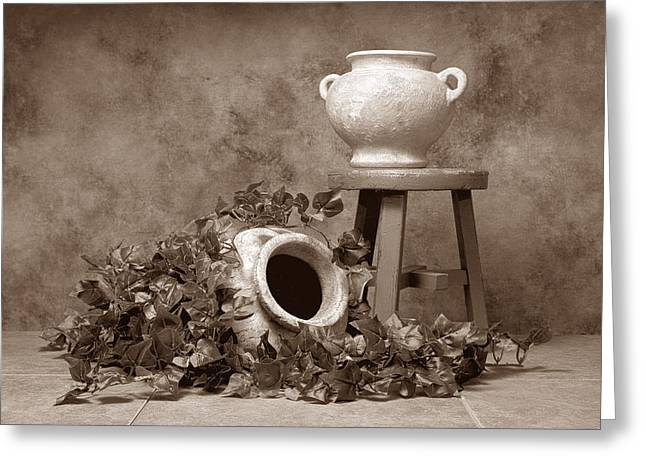 Pottery With Ivy I Greeting Card by Tom Mc Nemar