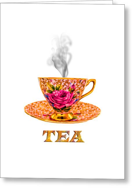 Vintage Potty Greeting Cards - Potty about tea Greeting Card by Gillian Singleton