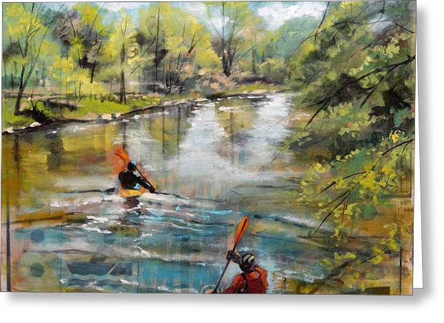 Fishing Creek Mixed Media Greeting Cards - Poudre Partners Greeting Card by Amelia Furman