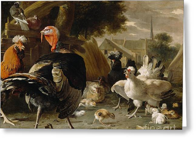 Cockerel Greeting Cards - Poultry Yard Greeting Card by Melchior de Hondecoeter