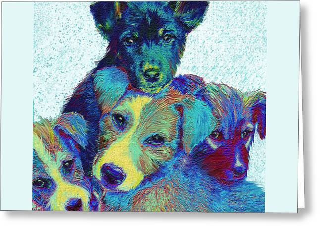 Puppies Digital Art Greeting Cards - Pound Puppies Greeting Card by Jane Schnetlage