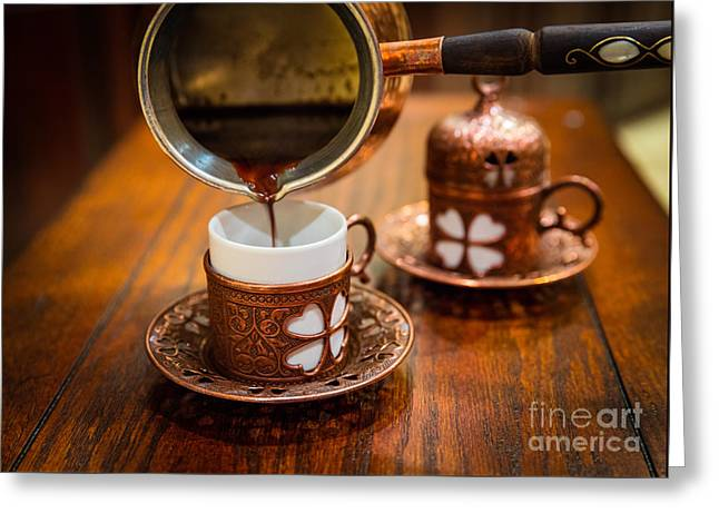 Poured Turkish Coffee Greeting Card by Inge Johnsson