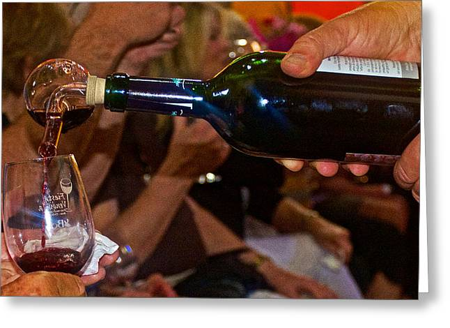 Wine Pouring Greeting Cards - Pouring a Carmenere Wine at Paseo del Vino Outside Santiago-Chile Greeting Card by Ruth Hager