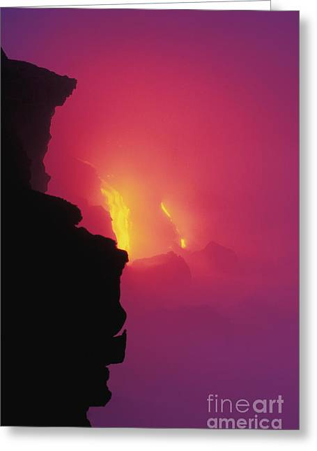 Ocean Art Photos Greeting Cards - Pouring Lava Greeting Card by William Waterfall - Printscapes