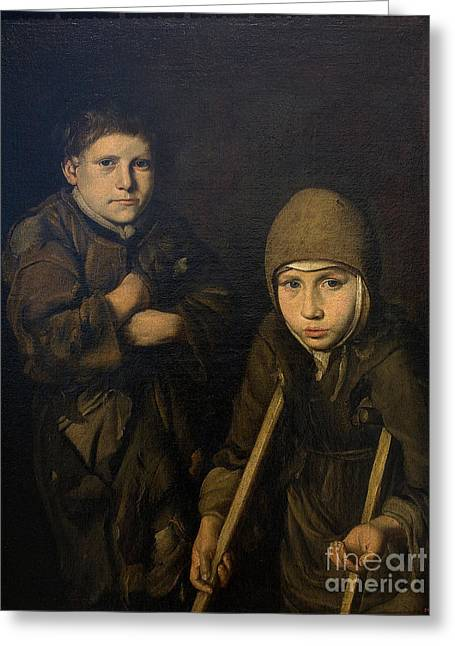 Anonymous Paintings Greeting Cards - Poverty in action Greeting Card by Celestial Images