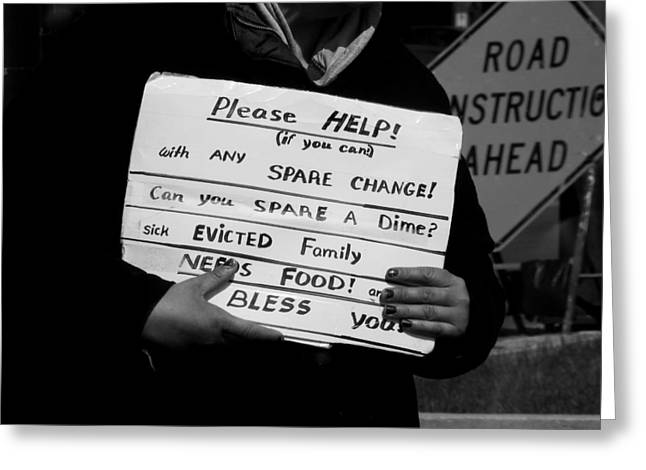Sick Evicted Family Greeting Card by Robert Frank Gabriel