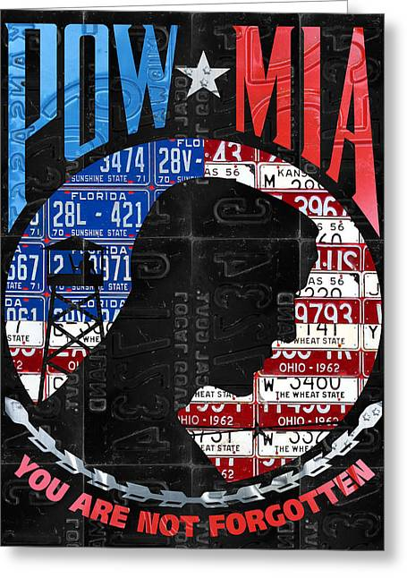 Pow Mia You Are Not Forgotten Recycled Vintage American License Plate Art Greeting Card by Design Turnpike