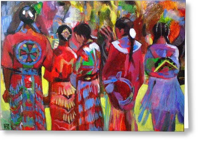 Wow Paintings Greeting Cards - Pow Wow  Greeting Card by Angeler Tripajayakorn