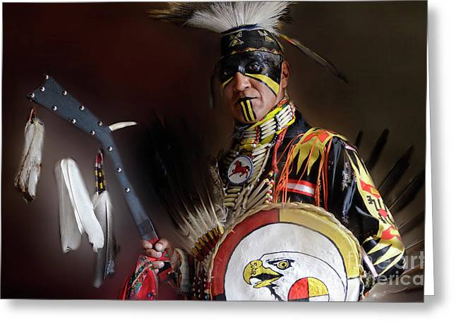 Jingle Greeting Cards - Pow Wow Portrait Of A Proud Man 2 Greeting Card by Bob Christopher