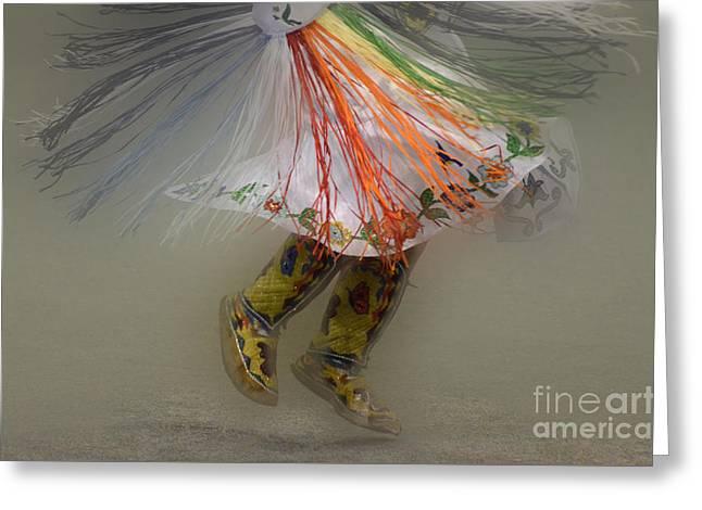 Pow Wow Greeting Cards - Pow Wow Shawl Dancer 4 Greeting Card by Bob Christopher
