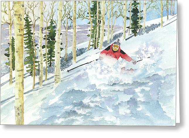 Recently Sold -  - Powder Greeting Cards - Powder Day Greeting Card by Vickey Swenson