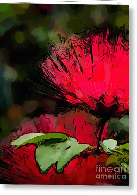 Powder Puff In Red Greeting Card by Betty LaRue