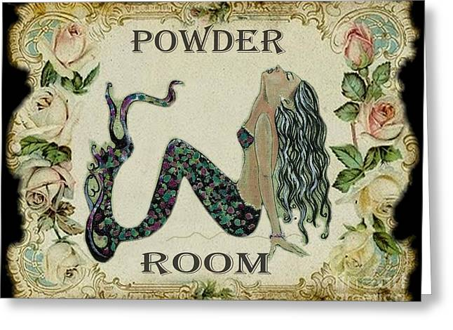 Vintage Rose Greeting Cards - Powder Room Vintage Mermaid Greeting Card by Sylvia Pimental