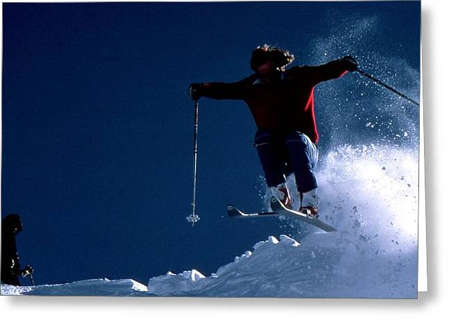 Freestyle Skiing Greeting Cards - Powder Skier Greeting Card by Scott Alpen