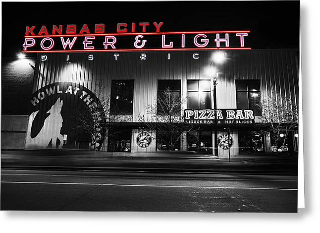 Kansas City Greeting Cards - Power and Light Pizza BW Greeting Card by Thomas Zimmerman