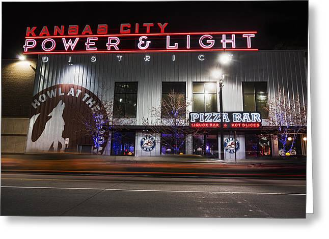 Kansas City Photographs Greeting Cards - Power and Light Pizza Greeting Card by Thomas Zimmerman