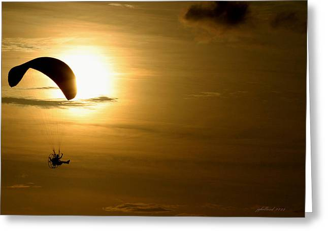 Power Hang Glider Greeting Card by Joseph G Holland