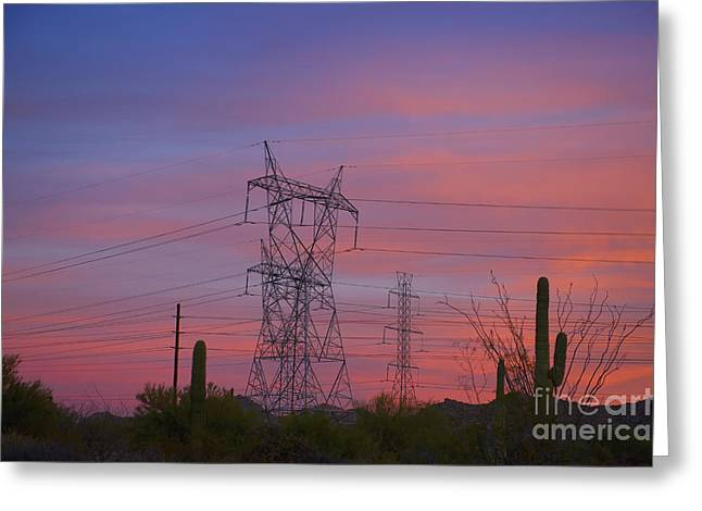 High Voltage Greeting Cards - Power Lines in the Desert Greeting Card by Dave & Les Jacobs