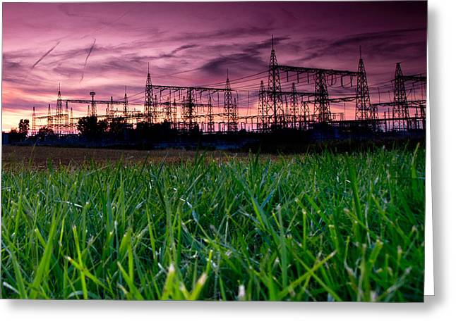 Power Photographs Greeting Cards - Power Lines Sunset Greeting Card by Cale Best