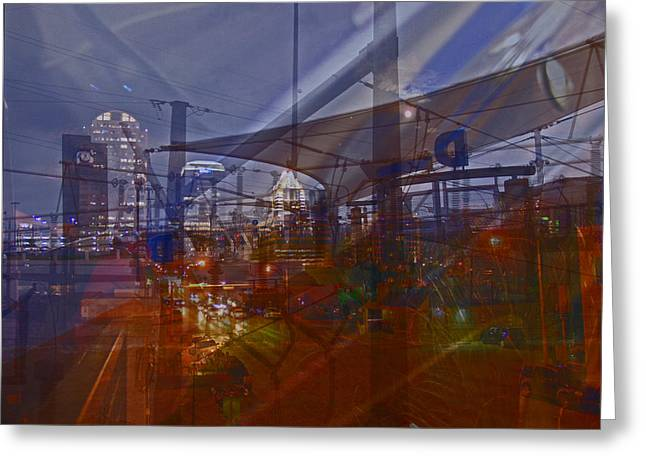 Multiple Exposures Greeting Cards - Power of Transit In the City Greeting Card by James Granberry