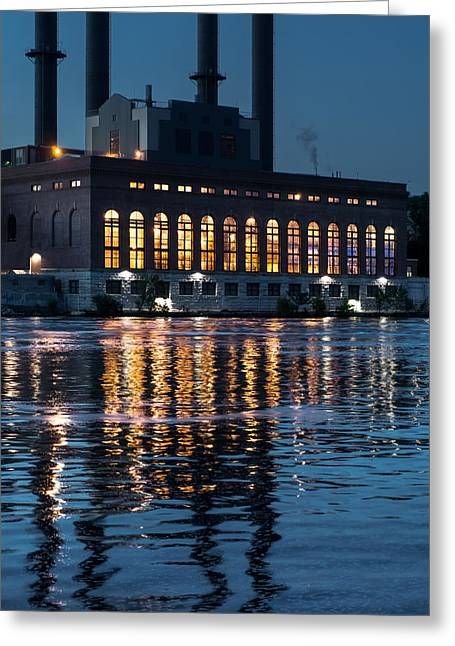 Power Plants Greeting Cards - Power plant on the Mississippi Greeting Card by Jim Hughes