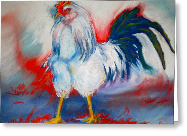 Rooster Pastels Greeting Cards - Power Rooster Greeting Card by Pat Crowther