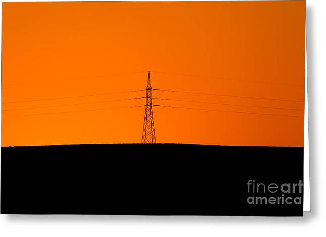 Powerline Greeting Cards - Powerline Sunset Silhouette Greeting Card by Bill  Robinson