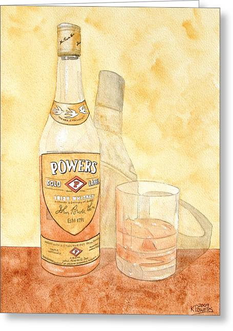 Food And Beverage Greeting Cards - Powers Irish Whiskey Greeting Card by Ken Powers