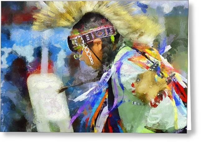 Indian Ancestry Greeting Cards - Powwow 25 Greeting Card by Cindy Nunn
