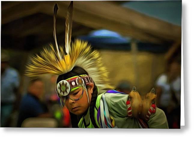 Indian Ancestry Greeting Cards - Powwow 9 Greeting Card by Cindy Nunn