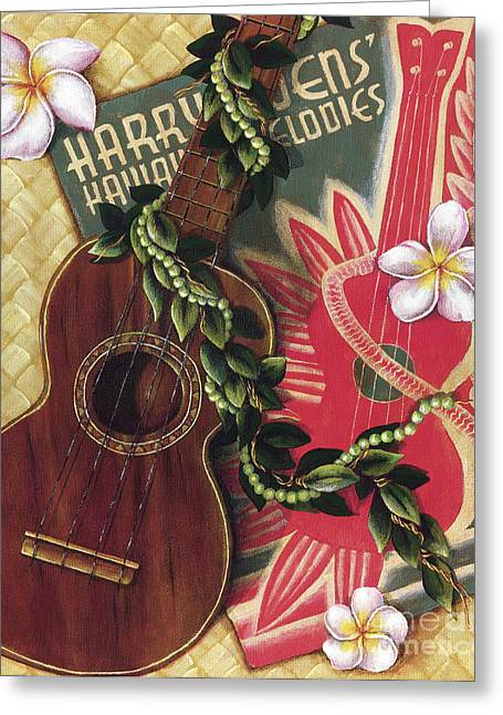 Island Cultural Art Greeting Cards - Practice My Uke Greeting Card by Sandra Blazel - Printscapes