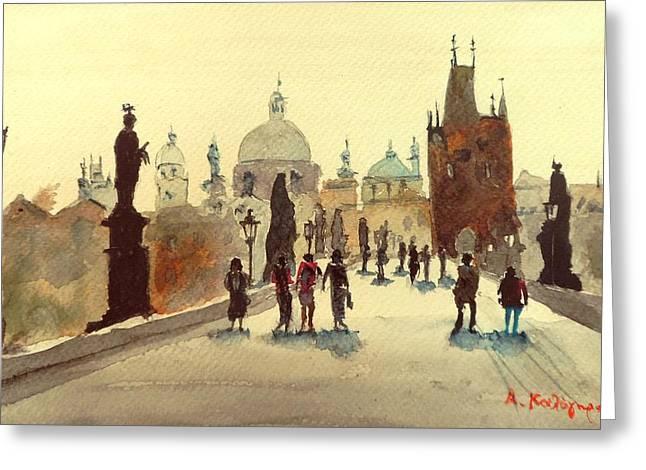 Prague Paintings Greeting Cards - Prague Greeting Card by Achilles Kalogiros