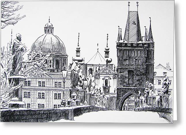 Pen Greeting Cards - Prague Greeting Card by Angelina Sofronova