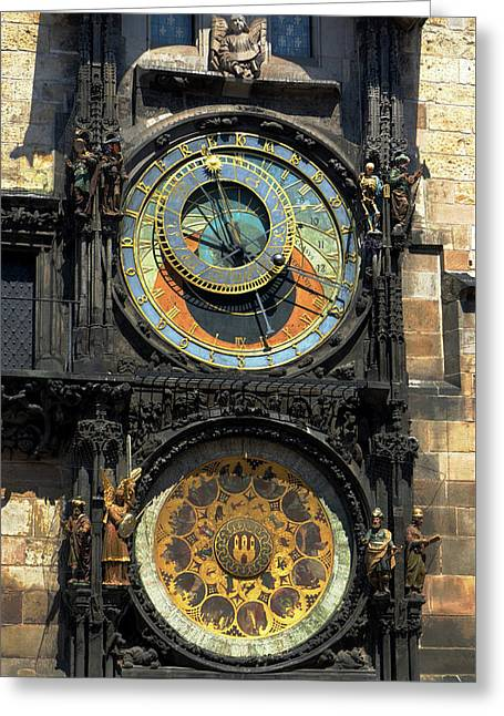 Horologue Greeting Cards - Prague Astronomical Clock Greeting Card by C H Apperson