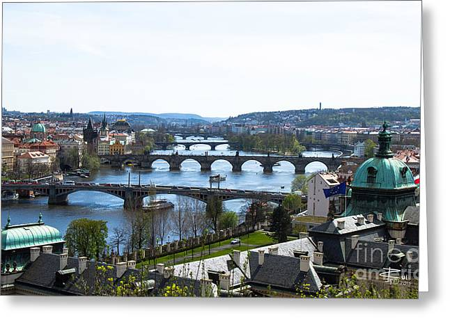 Czech Flag Greeting Cards - Prague Bridges Greeting Card by Rui DeGouveia