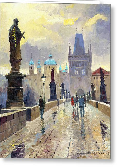 Streetscape Paintings Greeting Cards - Prague Charles Bridge 02 Greeting Card by Yuriy  Shevchuk
