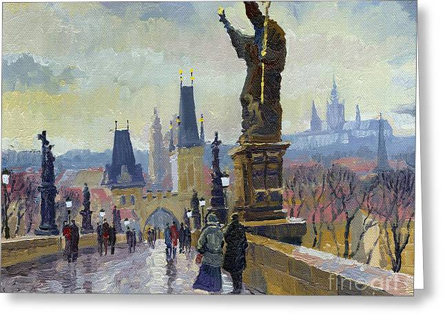 Czech Greeting Cards - Prague Charles Bridge 04 Greeting Card by Yuriy  Shevchuk