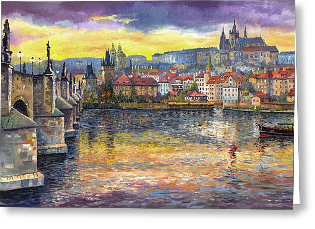 Landscapes Greeting Cards - Prague Charles Bridge and Prague Castle with the Vltava River 1 Greeting Card by Yuriy  Shevchuk
